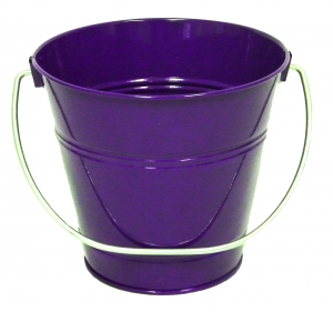 "Metal Bucket 5"" H x 6"" Purple"