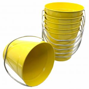 "Yellow Metal Bucket 5"" H x 6"""