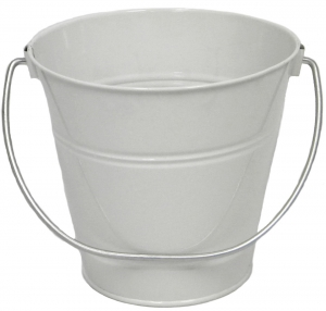 "White Metal Bucket  5"" H x 6"""