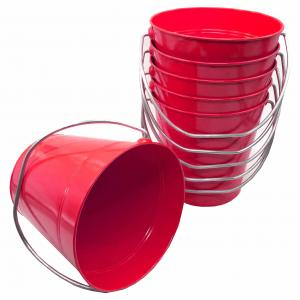 Metal Bucket Red Solid Colors 4.3x4.3""
