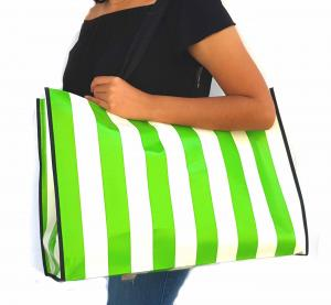 tote Bags Green and white stripes Size 18x15x7""