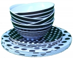 Melamine sets Black w/ Dot