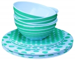Melamine set Green/white