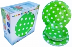"ITALIA 12pcs 11"" Melamine dinner set Green Polka Dot"