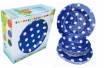 "ITALIA 12pcs 11"" Melamine dinner set Blue Polka Dot"