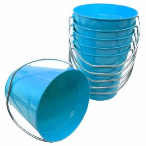 "Metal Bucket 5.5"" H x 6""  Light Blue"