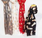Fashion Scarves with Gold and silver Print, 4 colors assorted 70 x 180cm