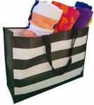 "20x15x7"" Tote Bag Black-white Stripes 150 GSM"